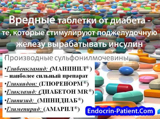Вредные лекарства от диабета 2 типа: список