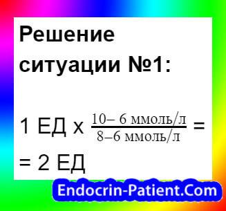 Расчет дозы инсулина: пример 2-2