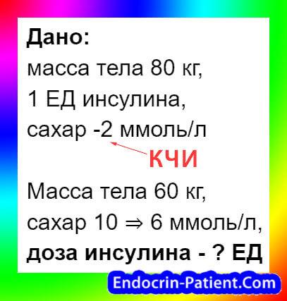 Расчет дозы инсулина: пример 1-1